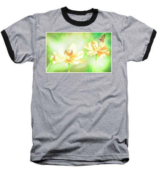 Cosmos Flowers, Bud, Butterfly, Digital Painting Baseball T-Shirt