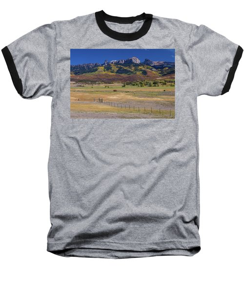 Baseball T-Shirt featuring the photograph Courthouse Mountains And Chimney Rock Peak by James BO Insogna