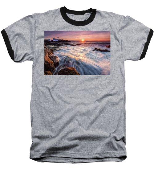 Crashing Waves At Sunrise, Nubble Light.  Baseball T-Shirt