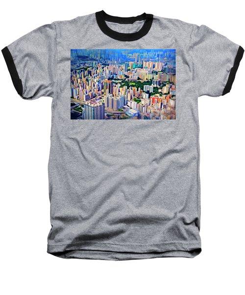 Crowded Hong Kong Abstract Baseball T-Shirt