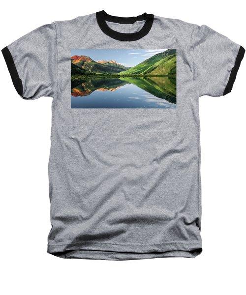 Crystal Lake Red Mountain Reflection Baseball T-Shirt