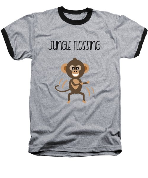 Cute Animal Monkey Jungle Flossing  Baseball T-Shirt