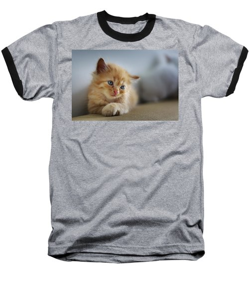Cute Orange Kitty Baseball T-Shirt