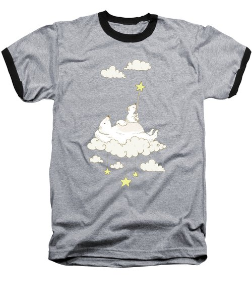 Cute Polar Bears On Cloud Whimsical Art For Kids Baseball T-Shirt