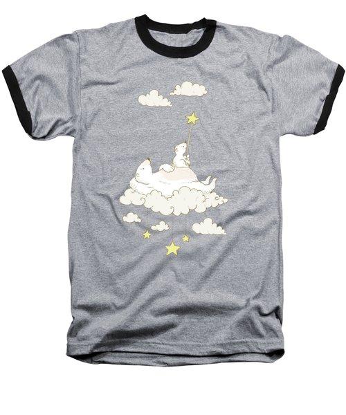 Cute Polar Bears On Cloud Whimsical Art For Kids Baseball T-Shirt
