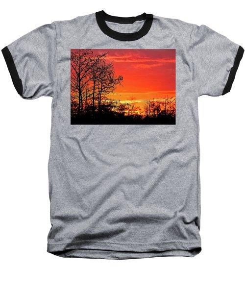 Cypress Swamp Sunset 2 Baseball T-Shirt