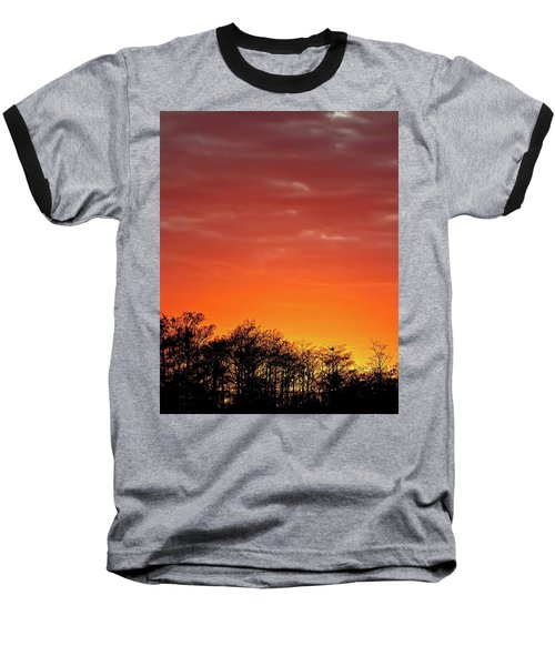 Cypress Swamp Sunset 4 Baseball T-Shirt