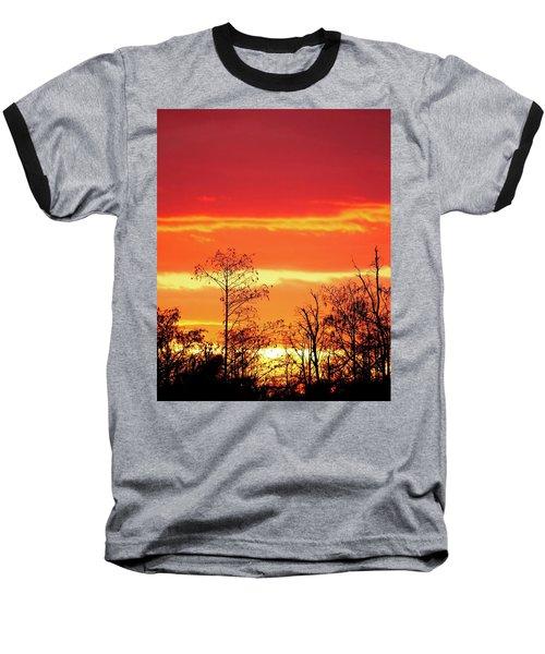 Cypress Swamp Sunset 5 Baseball T-Shirt