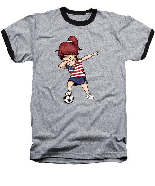 Dabbing Soccer Girl United States Jersey Shirt Usa Football Baseball T-Shirt