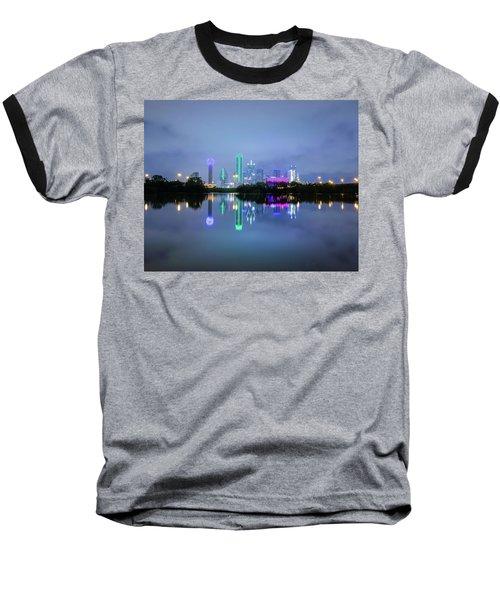 Dallas Cityscape Reflection Baseball T-Shirt