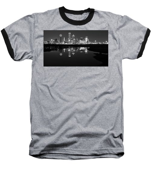 Dallas Texas Cityscape Reflection Baseball T-Shirt