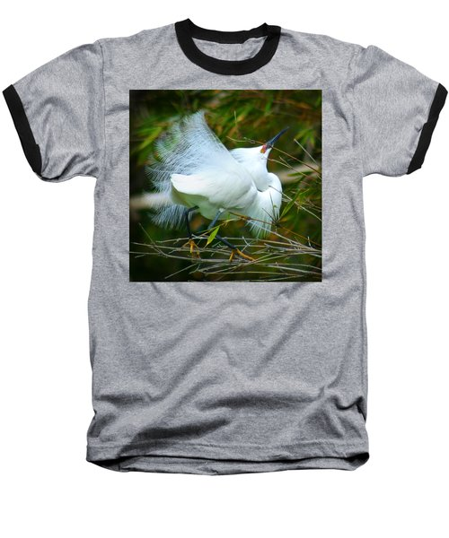 Dancing Egret Baseball T-Shirt