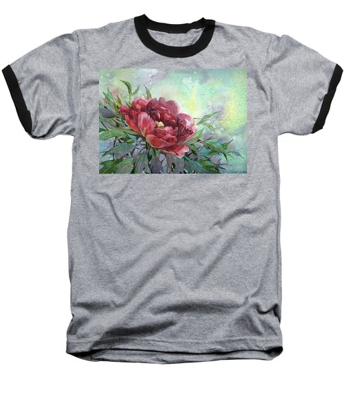 Dark Red Peony Flower Baseball T-Shirt