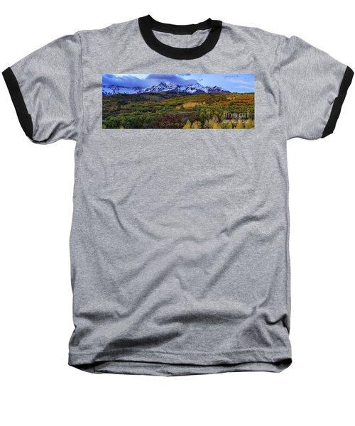 Dawn At The Dallas Divide Panoramic Baseball T-Shirt