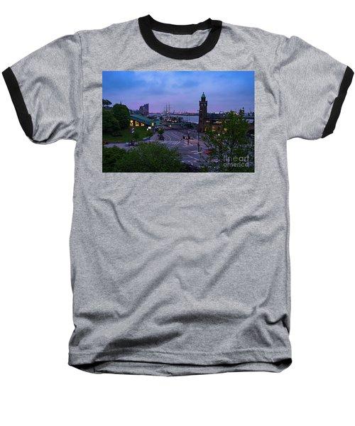 Dawn Over The Port And City Hamburg Panorama Baseball T-Shirt
