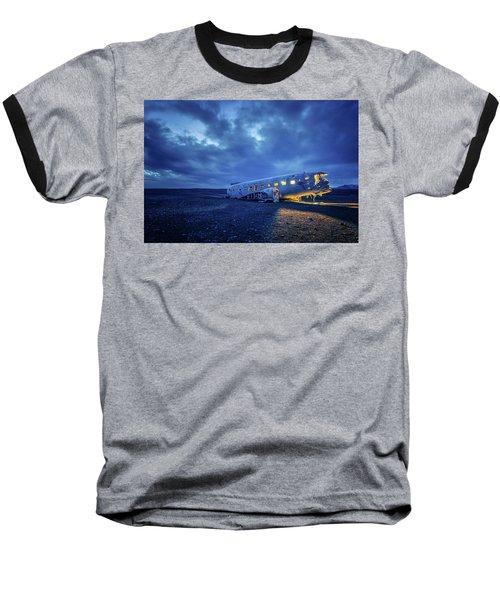 Dc-3 Plane Wreck Illuminated Night Iceland Baseball T-Shirt