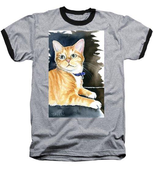 Diego Ginger Tabby Cat Painting Baseball T-Shirt
