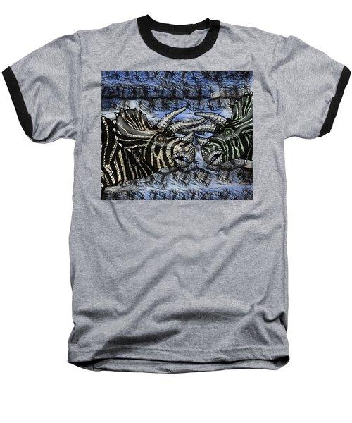 Dinosaur Triceratops Head On Battle Baseball T-Shirt