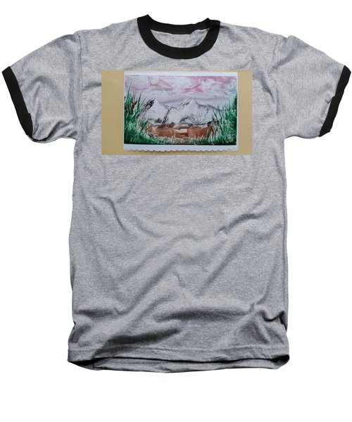 Distant Impressionistic Mountains Baseball T-Shirt
