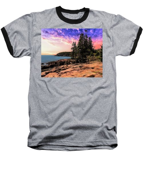 Distant View Of Otter Cliffs,acadia National Park,maine. Baseball T-Shirt
