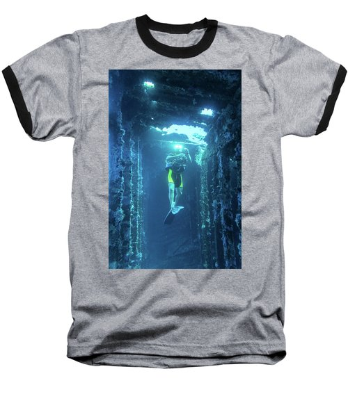 Diver In The Patris Shipwreck Baseball T-Shirt
