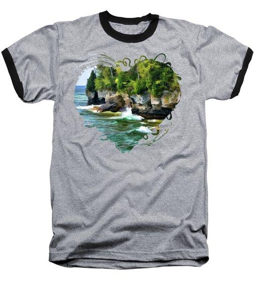 Door County Cave Point Cliffs Baseball T-Shirt