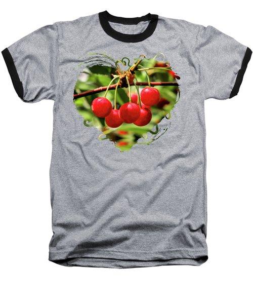 Door County Cherry Hanging Cherries Baseball T-Shirt