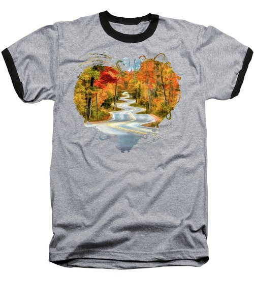 Door County Road To Northport In Autumn Baseball T-Shirt