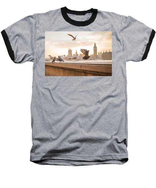 Doves And Seagulls Over The Thames In London Baseball T-Shirt