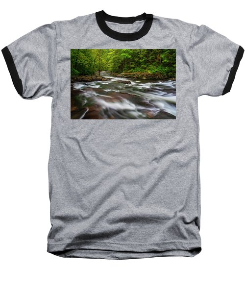 Baseball T-Shirt featuring the photograph Down The Tellico River by Andy Crawford
