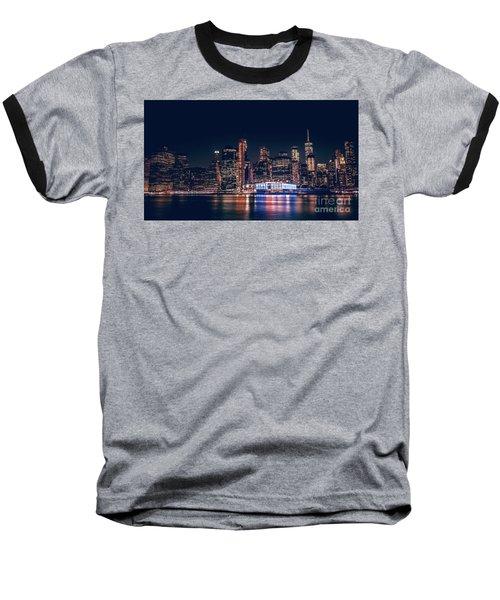 Downtown At Night Baseball T-Shirt