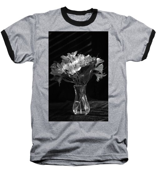 Dramatic Flowers-bw Baseball T-Shirt