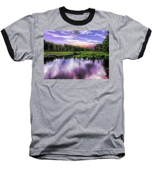 Dusk Falls Over New England Beaver Pond. Baseball T-Shirt