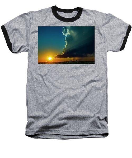 Dying Nebraska Thunderstorms At Sunset 068 Baseball T-Shirt