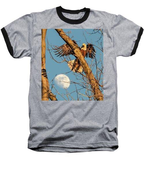 Eagle And Moon  Baseball T-Shirt