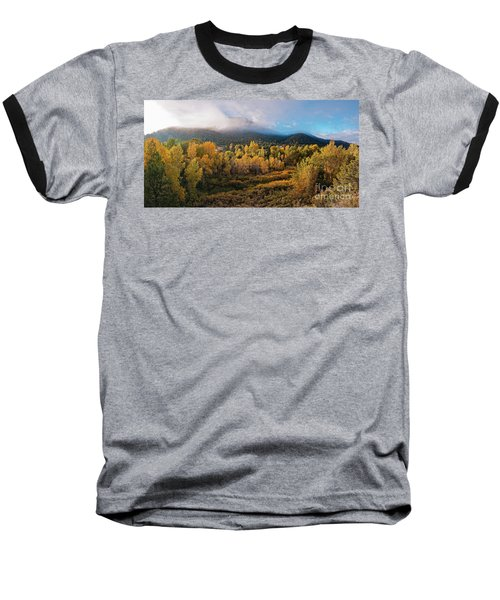 Early Morning Panorama Of Changing Aspens And Picacho Peak - Twomile Reservoir - Santa Fe New Mexico Baseball T-Shirt