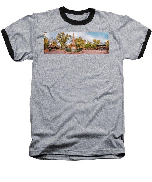 Early Morning Panorama Of Santa Fe Plaza - New Mexico Land Of Enchantment Baseball T-Shirt