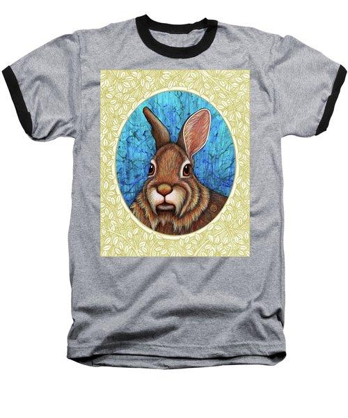 Eastern Cottontail Portrait - Cream Border Baseball T-Shirt