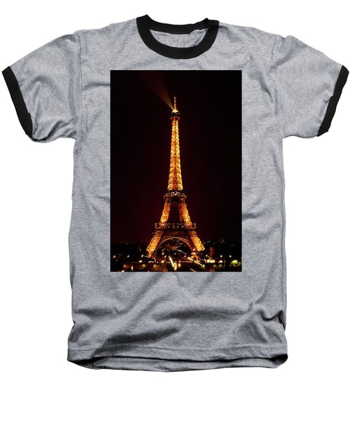 Eiffel Tower, Night Baseball T-Shirt