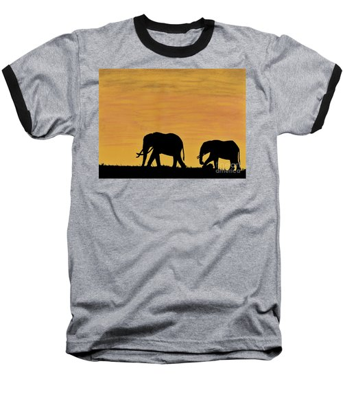 Elephants - At - Sunset Baseball T-Shirt