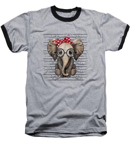 Elephants With Bandana Headband And Glasses Cute T-shirt Baseball T-Shirt