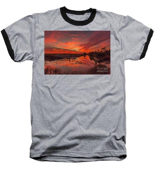 Explosive Sunset At Pine Glades Baseball T-Shirt