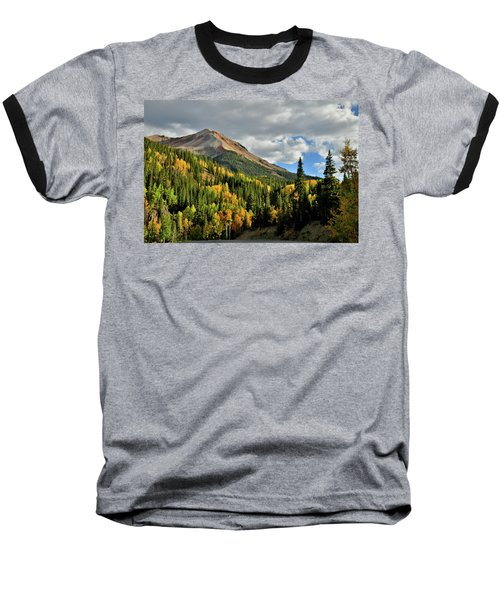 Fall Color Aspens Beneath Red Mountain Baseball T-Shirt