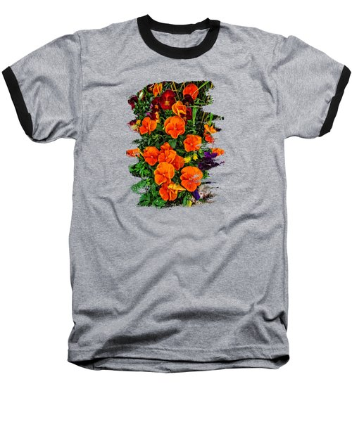 Fall Pansies Baseball T-Shirt