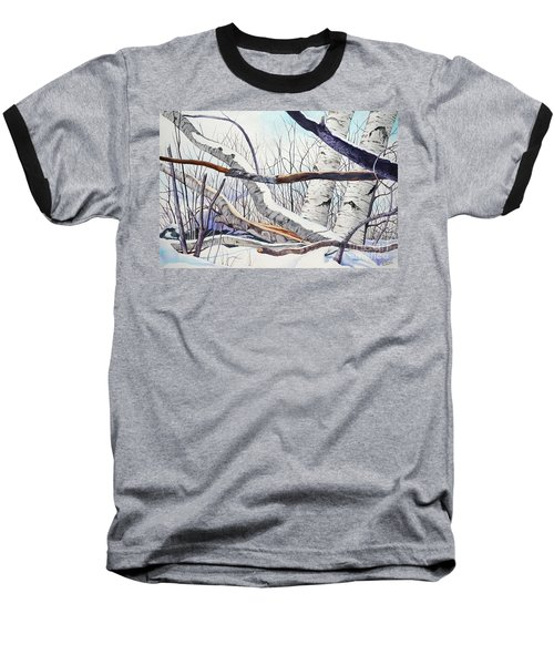 Fallen Birch Trees After The Snowstorm In Watercolor Baseball T-Shirt