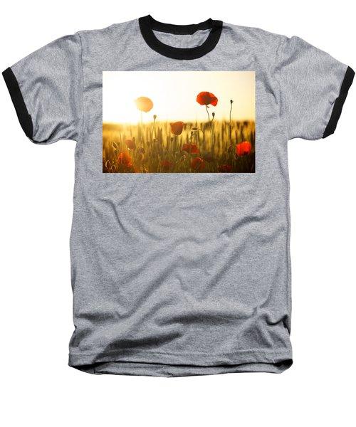 Field Of Poppies At Dawn Baseball T-Shirt