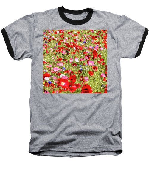 Field Of Red Poppies Baseball T-Shirt