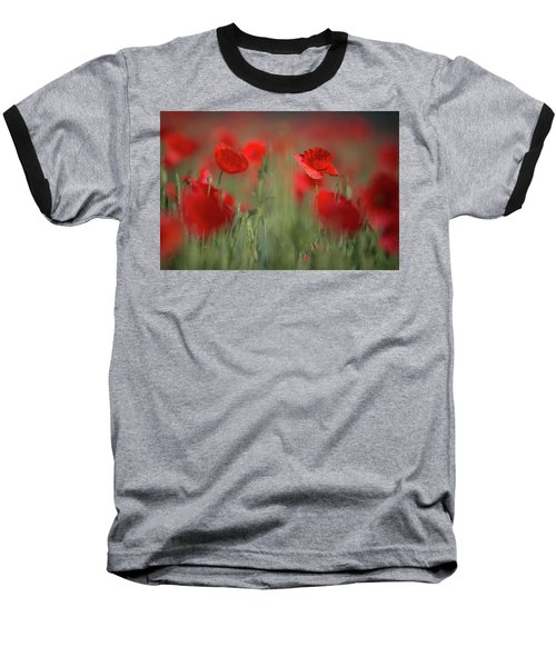 Field Of Wild Red Poppies Baseball T-Shirt
