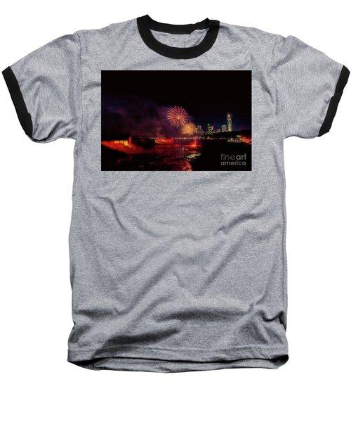 Fireworks Over The Falls. Baseball T-Shirt