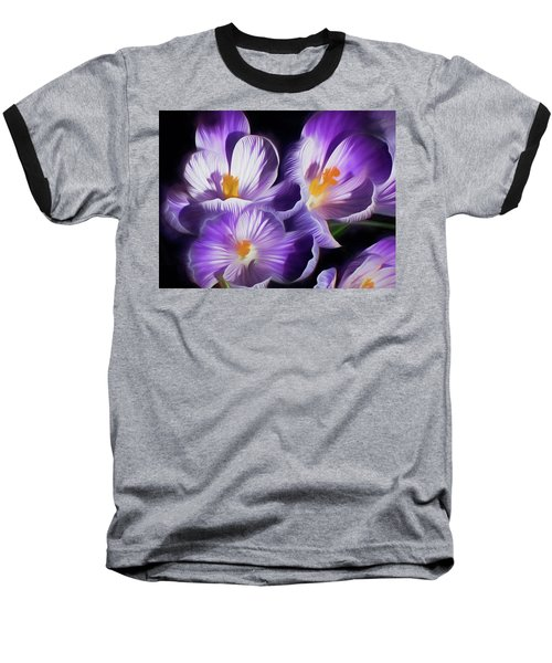 Baseball T-Shirt featuring the mixed media First Crocuses On The Sunny Side Of The Street by Lynda Lehmann